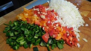 Chopped peppers and onions