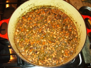 A bean soup concoction to use up ingredients in the frig.