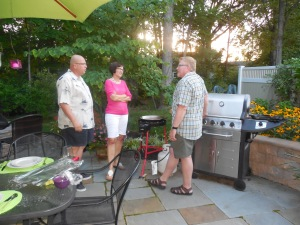 """Ed Mortka is concerned that his wife Karen may be getting too interested in purchasing her own paella grill after the """"how-to"""" lesson from Russ."""