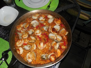 Paella perfection, with clams, shrimp and scallops cooked with saffron and piquillo peppers.