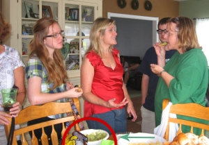 Lynn brought her guacamole to Maureen Evans Kelly's 50th birthday party. Colleen Carroll, Chrissi Sullivan and Patti Carroll discuss the merits…