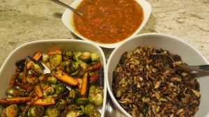At top is the very flavorful sauce, along with roasted brussells sprouts with baby carrots and a wild rice dish.