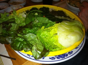Platter of steamed greens.