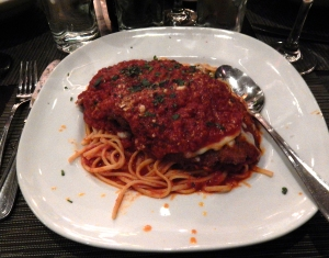 Rosanne's order of Veal Parmigiano.