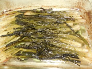 Finished dish of aromatic braised scallions fresh from the oven.