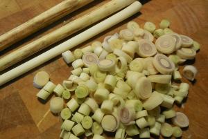 Stalks and sliced lemongrass.