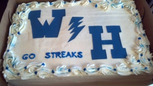 A sheet cake for her son's high school football team.