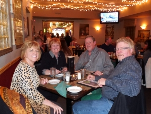 Lynn, Renee and Bob Ruczynski, and Russ having dinner at the Sycamore Grill in Newtown, PA.