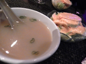 Miso soup and salad with ginger dressing.