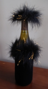 The dolled up bottle of wine, a gift from the Ruczynski's.