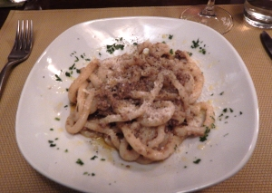 Pici with a duck sauce in Montepulciano.