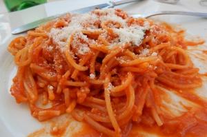 In Pittigliano, their house pici with a spicy tomato sauce at La Grottino.