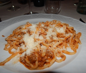 a house special, Pici with ragout at Il Poggio.
