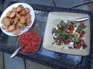 Karen Mortkas appetizer of a goat cheese spread, salsa and grilled baguette rounds.